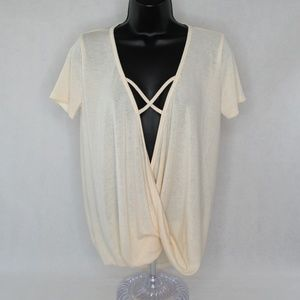 Lyss Loo Sexy Criss Cross Strap Draped Blouse